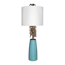 Ro Sham Beaux - Ro Sham Beaux Ananas Turquoise Table Lamp - Eclectic details deliver the turquoise Ananas table lamp glamorous distinction. Topped with a clean white shade, this contemporary Ro Sham Beaux light fixture's leaf-like accents pair with a smooth base for a statement-making accent. Ceramic base; Accepts one 75W max bulb (not included); Turn knob; Available in brass or chrome hardware; Handcrafted in the USA; Contemporary yet relaxed with its round grass weave shade, the Patricia Grey table lamp evokes thoughts of a foggy evening by the sea. This Ro Sham Beaux light fixture's calming palette accents living rooms with a classic and neutral accessory. Ceramic base ; Accepts one 75W max bulb; Handcrafted in the USA