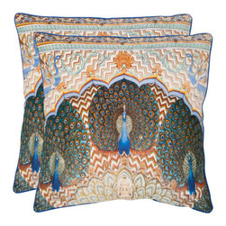 Safavieh Home Furniture - Raj 20-Inch Multi Decorative Pillows - Set of Two - - Steeped in mythology, the peacock symbolizes Greek and Hindu gods, and represents all-seeing wisdom, patience and kindness. This stunning pillow with pattern printed on pure cotton will create a serene retreat of your sofa, chair, or bed.  - Please note this item has a 30-day manufacturer's limited warranty that covers product defects. Inspect your purchase upon delivery and notify us immediately with any concerns. Safavieh Home Furniture - PIL453A-2020-SET2