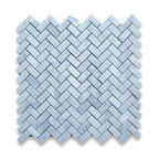 "Stone Center Corp - Carrara Marble Herringbone Mosaic Tile 5/8 x 1 1/4 Honed - Carrara white marble 5/8"" x 1 1/4"" pieces mounted on 12"" x 12"" sturdy mesh tile sheet"