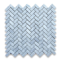 "Stone Center Corp - Carrara Marble Herringbone Mosaic Tile 5/8 x 1 1/4 Honed - Carrara white marble 5/8"" x 1 1/4"" pieces mounted on 12"" x 12"" sturdy mesh tile sheet"