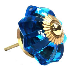 Glass Flower Knob, Blue - To have and to hold: You'll love that this colorful blue glass flower knob marries well with just about any vintage style. And being ultra sturdy, you know it'll be dependable from this day forward.