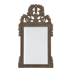 French Napoleonic Mirror - This handsome mirror reminds us of the French. Roosters, one of France's national emblems, adorn the top with stately swag and tassel embellishments.