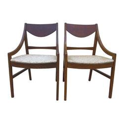 Pre-owned 1960s Teak Wood Danish Modern Chairs - A Pair - Quintessentially Mid-Century - A lovely set of 1960s Danish Modern chairs, made of teak wood. The chairs feature curved teak arms and back and an upholstered seat.     Seat height: 18.""
