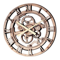 "Factory Direct Wall Decor - Old Gear Wall Clock - The Old Gear Clock is a beautiful clock with an old world feel. It's measurements are 22""W x 22""H x 3"" in Depth. This item weighs approximately 10 lbs, and requires one AA battery."