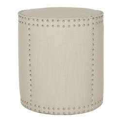 Safavieh - Evelyn Ottoman - The rustic chic Evelyn ottoman complements contemporary and transitional interiors with its tall drum shape, oversized silver nail head trim and off white pure linen fabric upholstery.