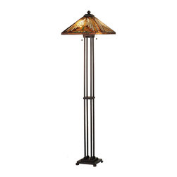 Meyda Tiffany - Meyda Tiffany Lamps Floor Lamp in Copperfoil - Shown in picture: Nuevo Mission Floor Lamp; Warm Earth Toned Bone Beige And Moccasin Tan Stained Glass - Accented With Glistening Root Brown And Sage Green - Is Used To Make This Intricate Interlocking Patterned Shade. A Mission Style Lamp Base In A Hand Applied Mahogany Bronze Finish Supports The Handsome Square Shade Inspired By Native American Artwork. Handcrafted With The Copper Foil Technique Developed By Louis Comfort Tiffany - This Floor Lamp Is A True Masterpiece.