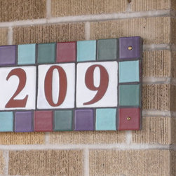 Tile Address Plaque - Handmade number tiles with multi-tile frame, set, grouted and ready to install.  8 in. x 20 in.