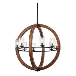 Kichler Lighting - Kichler Lighting 43190AUB Grand Bank Transitional Chandelier - This distinctive 8 light chandelier/ pendant from the Grand Bank collection creates a bold statement. The rich, Auburn Stained finish and Clear Seedy Glass will accent any space in your home.