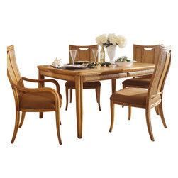American Drew - American Drew Antigua 5 Piece Leg Table Dining Room Set in Toasted Almond - Antigua combines popular materials, finishes, hardware and shapes and blends them with pieces for today's lifestyles. It is a collection sure to add a sophisticated coastal or tropical flare to any home. Unique options for bedroom make it easy to create the perfect setting that fits your style.