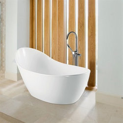 "MTI - MTI Savoy Tub (65"" x 34.25"" x 31.5"") - Available with or without optional pedestal base, the stunning Savoy is reminiscent of the classic-design ""Slipper"" tub. Learn more about MTI's Boutique Collection. MTI Engineered solid-surface tubs: Made by hand, one-at-a-time in the USA All MTI tubs are individually manufactured and handcrafted using the highest-quality materials. Each product is built according to the specifications of the customer when it is ordered. Multiple quality control checks are employed, including individual water-testing and component operation. MTI's goal is to provide customers with handcrafted, quality products that meet their needs and desires.Please note, custom orders may not be returned. More information regarding the return policy of your custom-built MTI Whirlpools product is available here Features: Model No.: MTCT-148 Size: 65""L x 34.25""D x 31.5""H One-piece pedestal base standard with Air Bath; optional with Soaker. Pedestal Base: Adds 3"" to height Soaker Weight: 214 lbs. Max fill: 98 gal. Drain Type: End Persons: 1 Undermountable: No Tub/Shower Suitable: No Material: Solid-Surface 2011 ADEX Platinum Award Winner Standard Features & Construction for All ""ESS"" Boutique Collection Tubs: MTI solid-surface tubs are constructed using MTI's ""ESS"" material. ""ESS"" material is Engineered Solid-Surface, which is a mixture of ground natural minerals and binding agents that are liquefied, poured and then hardened. Approximately 60% of the material is organic, including minerals mined from the earth and dirt, making it quite ""Green"". The result is molded stone. In contrast to some composite material products on the market, MTI Boutique Collection products are solid through-and-through, with no layers, hollow or void areas. This material is non-porous, stain-, mold- and mildew-resistant, making cleaning and maintenance easy. MTI Boutique Collection tubs are accompanied by a 10-Year Residential Warranty All Boutique Collection tubs are handcrafted with pride in the USA. Standard Features & Construction for ""ESS"" Boutique Collection Air Bath Tubs: Multiple air jets are strategically placed for comfort and maximum therapeutic benefit.. Air jets include built-in, anti-return check valves for hygienic operation. Whisper-quiet heated blower fosters comfort. Ceramic heating element provides efficient operation MTI products are made in the USA and ship within 14 business days. View Spec SheetNote: This item usually ships in 14 business days from the manufacturer. Please allow an additional 2-3 business days for order transmittal and verification."