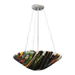 "Meyda Lighting - Meyda Lighting 114438 18""W Penna Di Pavone Fused Glass Inverted Pendant - Meyda Lighting 114438 18""W Penna Di Pavone Fused Glass Inverted Pendant"