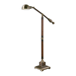 Dalton Floor Lamp - The handsome glow that the Dalton Floor Lamp brings to a room is not simply from illumination. Its base, simply but richly carved with reeded uprights and a distinctive geometric block at the foot, is rich with burnished wood tones; aged bronze hardware at the lamp's arm and shade brings a metallic depth to this transitional styling perfect for offices and libraries.