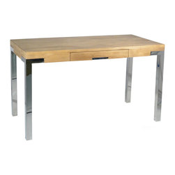 """Palecek - Brighton Desk - The Brighton desk lends the mod office an industiral impact. Atop sleek stainless steel legs, a plantation hardwood plank top offers a rich organic contrast. 52""""W x 25""""D x 31""""H; Distressed top with gray finish; Pull out drawer with stainless steel accents"""