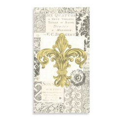 Boston International, Inc. - Fleur De Lis Gold Paper Guest Towels (Set of 16) - These French-inspired paper guest towels are great for buffets and/or the bathroom. Features a gold, ornate fleur de lis surrounded by neutral colour French script and design.