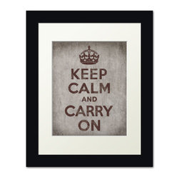 Keep Calm Collection - Keep Calm And Carry On, framed print (concrete) - This item is an Art Print which means it is a higher-quality art reproduction than a typical poster. Art prints are usually printed on thicker paper, resulting in a high quality finish. This print is produced on a 270 gsm fine art paper stock.