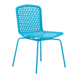Zuo Modern Contemporary, Inc. - Silvermine Bay Dining Chair Aqua (set of 4) - The Silvermine Bay Chair comes in hot colors that are durable enough for snow. Its eye-catching mesh design is made of epoxy coated steel that survives any weather. Comes in white, purple, aqua or lime.