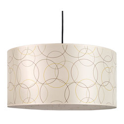 Lights Up! - Meridian Grande Pendant Lamp, Circles on Silk Shade - No matter what unsavory light fixtures you've cavorted with in the past, make sure this modern pendant makes it into your present inner circle. The shade is  a large, 24-inch diameter silk drum with gold and brown circles printed on the sides and bottom light diffuser. The light kit inside holds two bulbs and comes with eight feet of cord.