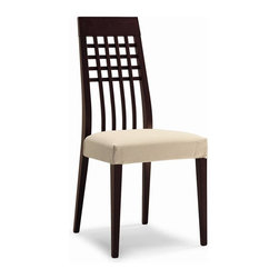 Calligaris - Manhattan Wooden Dining Chair (Set of 2) (Rio - Fabric: Rio Ecru & Wenge FramePictured in Rio Ecru & Wenge Frame. Classic wooden frame, suitable for both living and dining rooms. High trellis design backrest. Highly comfortable chair thanks to the upholstered seat covered in removable washable fabric. Assembly required. Seat height: 17.75 in.. 17.75 in. W x 20.5 in. D x 38.25 in. H