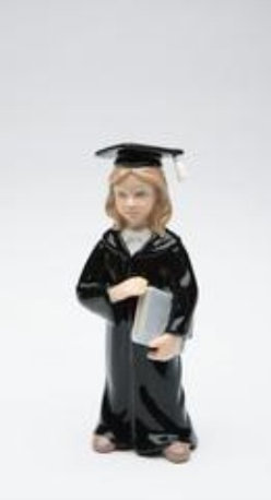 CG - Small Graduate Girl Holding Diploma in Long Black Robe Figurine - This gorgeous Small Graduate Girl Holding Diploma in Long Black Robe Figurine has the finest details and highest quality you will find anywhere! Small Graduate Girl Holding Diploma in Long Black Robe Figurine is truly remarkable.