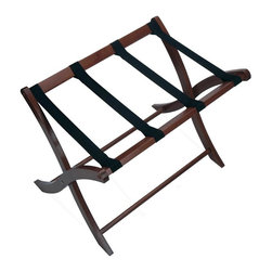 Winsome Wood - Antique Walnut Finish Luggage Rack - Enjoy being spoiled with this functional luggage rack finished in a walnut brown finish. Its sturdy, fetching design includes strong canvas straps to support your bags. A great buy for the frequent traveler. Give as a gift, or treat yourself. * Beechwood. Sturdy curved legs. Thick Canvas straps. Antique Walnut finish. No assembly required. 18.75 in. D x 26.5 in. W x 20 in. H
