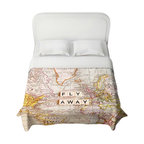 DiaNoche Designs - Duvet Cover - Fly Away I - Lightweight and super soft brushed twill Duvet Cover sizes Twin, Queen, King.  Cotton Poly blend.  Ties in each corner to secure insert. Blanket insert or comforter slides comfortably into Duvet cover with zipper closure to hold blanket inside.  Blanket not Included. Dye Sublimation printing adheres the ink to the material for long life and durability. Printed top, khaki colored bottom, Machine Washable, Product may vary slightly from image.