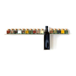 DESU DESIGN - DESU DESIGN 1-Line Spice Rack - Put your spices to work as pops of color in your kitchen. This display features a solo slot for olive oil, adding an unexpected element of delight to the otherwise straight line of this wall piece. Fifteen glass, mini-cube bottles with cork tops are included.