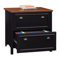 Bush - Bush Stanford Collection 2-Drawer Lateral File Wood Storage Cabinet - Bush - Filing Cabinets - WC5398403 - File it in style with the majestic Bush Stanford Collection Lateral File Cabinet, a bold and beautiful office solution. This mid to upper end filing cabinet features an antiqued black with Hansen Cherry finish, antique-style hardware and other beautiful details.