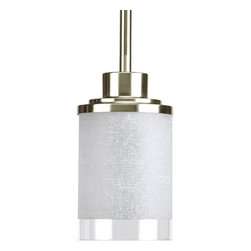 Progress Lighting - Progress Lighting P5147-09 Alexa Single-Light Mini Pendant with White - Traditional and modern styles repurposed, the Alexa collection features a spa-inspired and balanced feel. Glass contains a soft, patterned etching, which can add to a calming environment. With a top clear strip and Brushed Nickel Finish, Alexa offers the best of traditional and modern highlights.If you like this item, we carry the whole collection for your home. The full Alexa Collection includes: 1 mini pendant, 1 island fixture, 1 foyer pendant, 3 distinct chandeliers, 1 bowl pendant, and 1 close to ceiling fixture.Features: