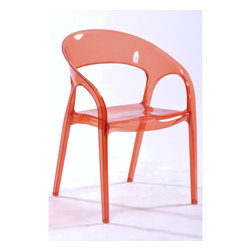 White Line Imports - Orti Red Plastic Chair (Set of 4) - Features: