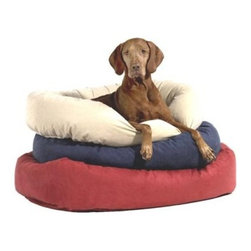 Bowsers Diamond Series Cotton Donut Dog Bed - Your trusty pooch will be in the lap of luxury in the Bowsers Diamond Series Cotton Donut Dog Bed and its unmatched comfort. Upholstered in cotton in your choice of color, this dog bed has a bolstered edge for a great nesting effect. Its high-memory polyester-fiber filling is so comfy that you may just want to bed down yourself. Choose from the following Sizes: Extra - small dog bed dimensionsExternal: 22L x 16W x 6H inchesInternal: 15L x 11W x 5H inchesRecommended weight: Up to 15 lbs. Small dog bed dimensions External: 27L x 22W x 7H inchesInternal: 19L x 11W x 5H inchesRecommended weight: up to 25 lbs.Medium dog bed dimensions External: 35L x 27W x 8H inchesInternal: 26L x 17W x 6H inchesRecommended weight: up to 45 lbs.Large dog bed dimensions External: 42Lx 32W x 9H inchesInternal: 31L x 19W x 7H inchesRecommended weight: up to 80 lbs.Extra-large dog bed dimensions External: 50L x 36W x 9H inchesInternal: 36L x 22W x 7H inchesRecommended weight: up to 100 lbs.