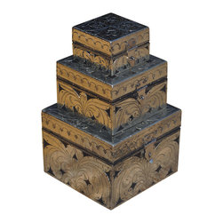 Sierra Living Concepts - 3 Box Metal Inlay & Mango Wood Jewelry Nested Boxes - Stacking boxes give you choices and a great overall look. Metal inlay cut in an Art Nouveau style covers a solid hardwood box. The metal inlay decorates the sides and top of each box.