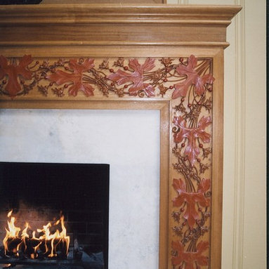 Hand carved fireplace mantel - Hand carved fireplace mantel