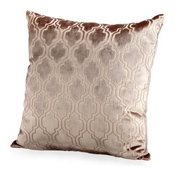 Flight Pattern Pillow - Richly textured with a light tracery that forms a composed lattice design, the plush Flight Pattern Pillow is warmly colored in a caramel taupe that acquires a soft sheen in the light. An uptown comfort for presiding over your bed or for sitting in pairs at the ends of a light loveseat, this stunning accent cushion has a solid back and a luxe, understated look.