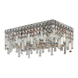 """Worldwide Lighting - Cascade 4 Light Chrome Finish Crystal 16"""" Rectangle Ceiling Light - This stunning 4-light Ceiling Light only uses the best quality material and workmanship ensuring a beautiful heirloom quality piece. Featuring a radiant chrome finish and finely cut premium grade crystals with a lead content of 30%, this elegant ceiling light will give any room sparkle and glamour. Worldwide Lighting Corporation is a privately owned manufacturer of high quality crystal chandeliers, pendants, surface mounts, sconces and custom decorative lighting products for the residential, hospitality and commercial building markets. Our high quality crystals meet all standards of perfection, possessing lead oxide of 30% that is above industry standards and can be seen in prestigious homes, hotels, restaurants, casinos, and churches across the country. Our mission is to enhance your lighting needs with exceptional quality fixtures at a reasonable price."""