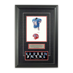 "Heritage Sports Art - Original art of the NFL 2000 Buffalo Bills uniform - This beautifully framed piece features an original piece of watercolor artwork glass-framed in an attractive two inch wide black resin frame with a double mat. The outer dimensions of the framed piece are approximately 17"" wide x 24.5"" high, although the exact size will vary according to the size of the original piece of art. At the core of the framed piece is the actual piece of original artwork as painted by the artist on textured 100% rag, water-marked watercolor paper. In many cases the original artwork has handwritten notes in pencil from the artist. Simply put, this is beautiful, one-of-a-kind artwork. The outer mat is a rich textured black acid-free mat with a decorative inset white v-groove, while the inner mat is a complimentary colored acid-free mat reflecting one of the team's primary colors. The image of this framed piece shows the mat color that we use (Red). Beneath the artwork is a silver plate with black text describing the original artwork. The text for this piece will read: This original, one-of-a-kind watercolor painting of the 2000 Buffalo Bills uniform is the original artwork that was used in the creation of this Buffalo Bills uniform evolution print and tens of thousands of other Buffalo Bills products that have been sold across North America. This original piece of art was painted by artist Tino Paolini for Maple Leaf Productions Ltd. Beneath the silver plate is a 3"" x 9"" reproduction of a well known, best-selling print that celebrates the history of the team. The print beautifully illustrates the chronological evolution of the team's uniform and shows you how the original art was used in the creation of this print. If you look closely, you will see that the print features the actual artwork being offered for sale. The piece is framed with an extremely high quality framing glass. We have used this glass style for many years with excellent results. We package every piece very carefully in a double layer of bubble wrap and a rigid double-wall cardboard package to avoid breakage at any point during the shipping process, but if damage does occur, we will gladly repair, replace or refund. Please note that all of our products come with a 90 day 100% satisfaction guarantee. Each framed piece also comes with a two page letter signed by Scott Sillcox describing the history behind the art. If there was an extra-special story about your piece of art, that story will be included in the letter. When you receive your framed piece, you should find the letter lightly attached to the front of the framed piece. If you have any questions, at any time, about the actual artwork or about any of the artist's handwritten notes on the artwork, I would love to tell you about them. After placing your order, please click the ""Contact Seller"" button to message me and I will tell you everything I can about your original piece of art. The artists and I spent well over ten years of our lives creating these pieces of original artwork, and in many cases there are stories I can tell you about your actual piece of artwork that might add an extra element of interest in your one-of-a-kind purchase."