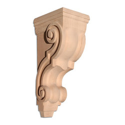 "Inviting Home - Saratoga Medium Corbel - Cherry - wood corbel in cherry 10""H x 5""D x 4-1/2""W Corbels and wood brackets are hand carved by skilled craftsman in deep relief. They are made from premium selected North American hardwoods such as alder beech cherry hard maple red oak and white oak. Corbels and wood brackets are also available in multiple sizes to fit your needs. All are triple sanded and ready to accept stain or paint and come with metal inserts installed on the back for easy installation. Corbels and wood brackets are perfect for additional support to countertops shelves and fireplace mantels as well as trim work and furniture applications."