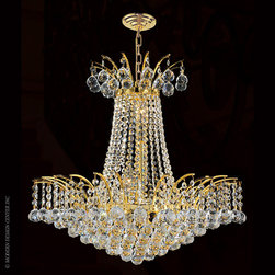 Worldwide Lighting Empire Chandelier W83053G19 - Worldwide Lighting Empire Collection 8 light Gold Finish and Clear Crystal Chandelier