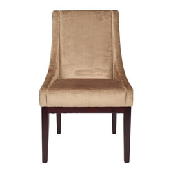 Safavieh - MCR4500 Armchair - Mink Brown - The simplicity of lines and gently sloping arms of the mink brown velvet upholstered Sloping chair, with legs finished in cherry mahogany, prove an elegant combination. Slope can dress up casual country dining rooms, add class to classic settings and even rest at ease in contemporary homes.