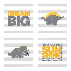 Nursery Code - Canvas prints for nursery-dinosaur-Dream big- You are my sunshine nursery canvas - dinosaur- Dream big- You are my sunshine - Set of four gallery warped canvases
