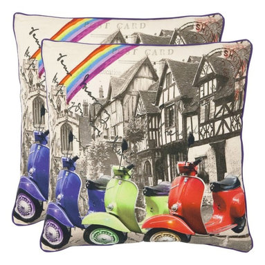 Safavieh - Safavieh Vienna Decorative Pillows - Multi - Set of 2 Multicolor - PIL456A-1818- - Shop for Pillows from Hayneedle.com! A gorgeous blend of the old and new the Safavieh Vienna Decorative Pillows - Multi - Set of 2 features brilliantly colored mopeds against the black and white backdrop of older beautiful homes. Available in your choice of size these throw pillows are made from 100% cotton have a hypoallergenic fiberfill insert and a secured zipper closure. Spot clean only. About SafaviehConsidered the authority on fine quality craftsmanship and style since their inception in 1914 Safavieh is most successful in the home furnishings industry thanks to their talent for combining high tech with high touch. For four generations the family behind the Safavieh brand has dedicated its talents and resources to providing uncompromising quality. They hold the durability beauty and artistry of their handmade rugs well-crafted furniture and decorative accents in the highest regard. That's why they focus their efforts on developing the highest quality products to suit the broadest range of budgets. Their mission is perpetuate the interior furnishings craft and lead with innovation while preserving centuries-old traditions in categories from antique reproductions to fashion-forward contemporary trends.