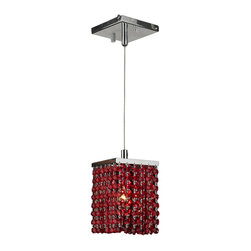 """Worldwide Lighting - Prism 1 Light Chrome Finish and Red Crystal Mini Pendant 5"""" Square x 8.5"""" H - This stunning 1-light Crystal Mini Pendant only uses the best quality material and workmanship ensuring a beautiful heirloom quality piece. Featuring a radiant chrome finish and finely cut premium red colored crystals with a lead content of 30%, this elegant pendant will give any room sparkle and glamour. Worldwide Lighting Corporation is a privately owned manufacturer of high quality crystal chandeliers, pendants, surface mounts, sconces and custom decorative lighting products for the residential, hospitality and commercial building markets. Our high quality crystals meet all standards of perfection, possessing lead oxide of 30% that is above industry standards and can be seen in prestigious homes, hotels, restaurants, casinos, and churches across the country. Our mission is to enhance your lighting needs with exceptional quality fixtures at a reasonable price."""