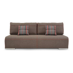 Julio Sofa Bed - Premium quality sofa bed on steel legs. Available in beige fabric with contrasting pillows. Easy open and close mechanism. Manufactured in the state-of-the-art factory with strict European manufacturing processes. Best choice for luxury house or condo. Imported from Europe