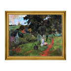 """Paul Gauguin-18""""x24"""" Framed Canvas - 18"""" x 24"""" Paul Gauguin Martinique Landscape (also known as Comings and Goings) framed premium canvas print reproduced to meet museum quality standards. Our museum quality canvas prints are produced using high-precision print technology for a more accurate reproduction printed on high quality canvas with fade-resistant, archival inks. Our progressive business model allows us to offer works of art to you at the best wholesale pricing, significantly less than art gallery prices, affordable to all. This artwork is hand stretched onto wooden stretcher bars, then mounted into our 3"""" wide gold finish frame with black panel by one of our expert framers. Our framed canvas print comes with hardware, ready to hang on your wall.  We present a comprehensive collection of exceptional canvas art reproductions by Paul Gauguin."""