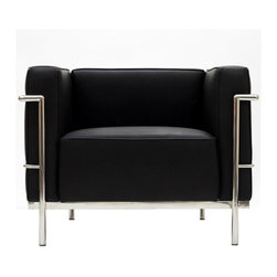 Modway Furniture - Modway Charles Grande Leather Armchair in Black - Grande Leather Armchair in Black belongs to Charles Collection by Modway Urban life has always a quandary for designers. While the torrent of external stimuli surrounds, the designer is vested with the task of introducing calm to the scene. From out of the surging wave of progress, the most talented can fashion a forcefield of tranquility. Perhaps the most telling aspect of the Charles series is how it painted the future world of progress. The coming technological era, like the externalized tubular steel frame, was intended to support and assist human endeavor. While the aesthetic rationalism of the padded leather seats foretold a period that would try to make sense of this growth. The result is an iconic sofa series that became the first to develop a new plan for modern living. If previous generations were interested in leaving the countryside for the cities, today it is very much the opposite. If given the choice, the younger generations would rather live freely while firmly seated in the clamorous heart of urbanism. The Charles series is the preferred choice for reception areas, living rooms, hotels, resorts, restaurants and other lounge spaces. Set Includes: One - Le Corbusier LC3 Armchair Arm Chair (1)