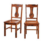 Walker Edison - Dark Oak Wood Dining Chairs, Set of 2 - These charming wood dining chairs are an irresistible addition to any dining room, kitchen, or sitting area. The rich dark oak finish and purposeful distressing create a warm, rustic feel. Constructed of solid wood and high-grade MDF, these chairs provide comfort and stability.