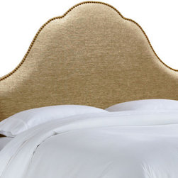 """Skyline Furniture - Nail Button Glitz Arch Headboard - This headboard boasts an elegant high arch, embellished with ornamental nail buttons along the silhouette. Its dramatic design is sure to add a touch of class to any bedroom. Attaches to any standard metal bed frame. Features: -Solid pine frame, metal legs, polyurethane foam.-Spot clean only.-Made in the USA.-Color: Filbert.-Gloss Finish: No.-Frame Material: Pine wood.-Hardware Material: Steel.-Wall Mounted: Yes.-Reversible: No.-Media Outlet Hole: No.-Built In Outlets: No.-Hardware Finish: Black metal.-Finished Back: No.-Distressed: No.-Hidden Storage: No.-Freestanding: No.-Frame Included: No.-Drill Holes for Frame: Yes.-Commercial Use: No.-Recycled Content: No.Specifications: -EPP Compliant: No.-CPSIA or CPSC Compliant: Yes.-CARB Compliant: Yes.-JPMA Certified: No.-ASTM Certified: No.-ISTA 3A Certified: Yes.-PEFC Certified: No.-General Conformity Certificate: Yes.-Green Guard Certified: No.Dimensions: -Overall Product Weight (Size: California King): 40 lbs.-Overall Product Weight (Size: Full): 31 lbs.-Overall Product Weight (Size: King): 45 lbs.-Overall Product Weight (Size: Queen): 33 lbs.-Overall Product Weight (Size: Twin): 24 lbs.-Leg Height: 6"""".-Bottom of Headboard to Floor: 24"""".Assembly: -Assembly Required: Yes.-Tools Needed: Allen wrench, wrench.-Additional Parts Required: No.Warranty: -1 Year limited warranty.-Product Warranty: 1 Year limited (Excludes fabric)."""