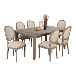 Jofran - Jofran Burnt Grey 7-Piece Rectangle Dining Room Set with Oval Back Chairs - Belongs to Burnt grey collection by Jofran. Solid oak.