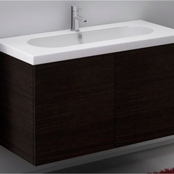 Iotti - 2 Doors Vanity Cabinet with Self Rimming Sink - This vanity set includes a vanity cabinet with a white ceramic sink. The vanity is 39.0 inches wide. The vanity cabinet is made from waterproof panels and are produced using a environmentally friendly process These panels give you the utmost protection against dampness. Made in Italy. High end ceramic sink made in Italy. Faucet not included. The engineered wood vanity is made with waterproof panels. Single vanity features 2 doors. Top of the vanity comes in a white finish.