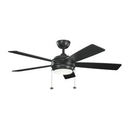 "Kichler - Kichler 300173SBK Starkk 52"" Indoor Ceiling Fan 5 Blades Light Kit, 4.5"" Downrod - Kichler 300173 Starkk Ceiling Fan"