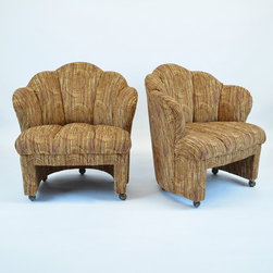 Modern Vintage 1940 Club Chairs w/Scalloped Back on Castors - New Upholstery - Dimensions:L 31''  × W 31''  × H 32''